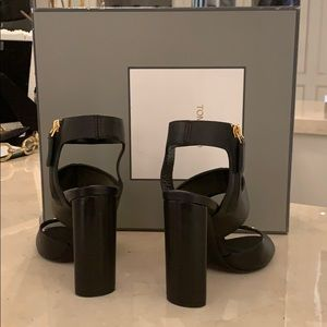 Tom Ford Shoes - Tom Ford Rivet 105mm Black Chunky Heel Sandals